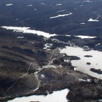 Aerial view of Blue Mountain, Blue Mountain Lake, Hamlet of Blue Mountain Lake and Lake Durant