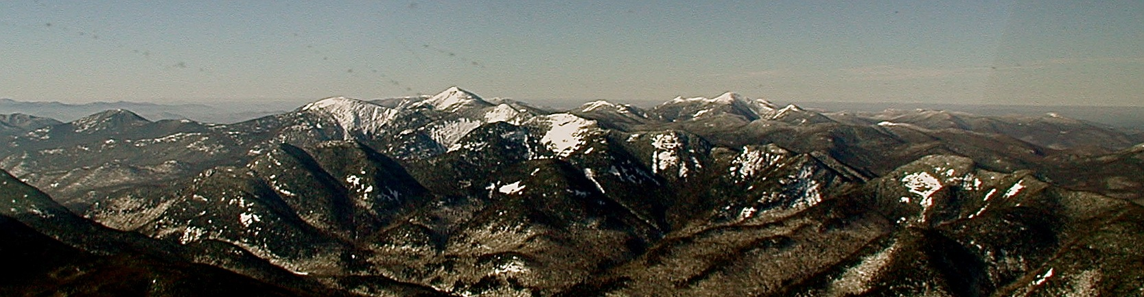 Looking northwest to the High Peaks with snow