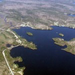 Aerial view of Hamlet of Raquette Lake and islands