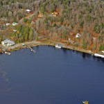 Aerial view of the hamlet of Raquette Lake