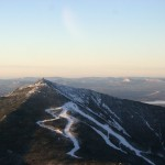 Whiteface mountain with ski trails late on a winter day from about 7,000'