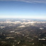Picture of the Adirondack High Peaks area from about 13.000'