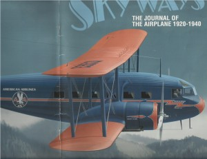 Drawing of a 1933 Wright T-32 Condor II in American Airlines blue and orange