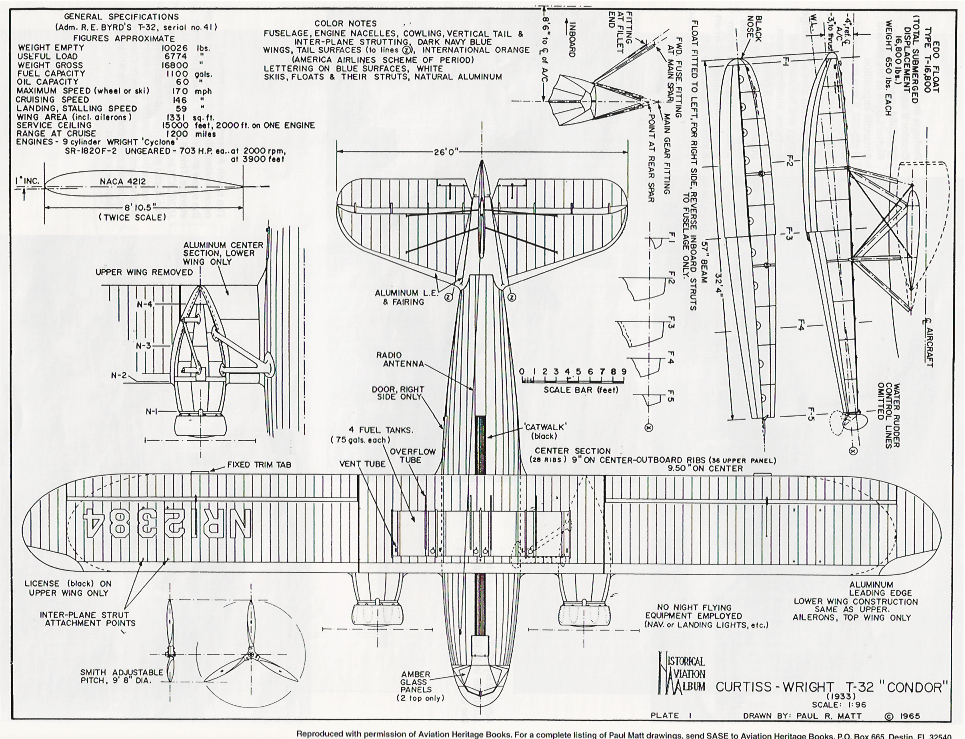 Plan drawing of N-12384, outfitted for Admiral Richard Byrd
