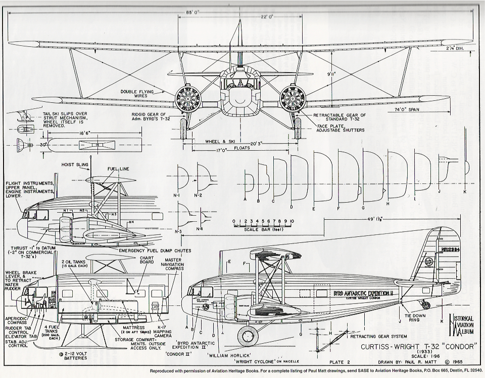 Elevation drawing of N-12384, outfitted for Admiral Richard Byrd