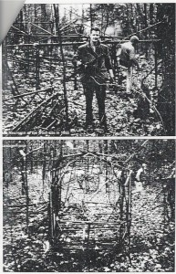 Top: Dick Newman at the crash site in 1965 Bottom: N12363 Fuselage Frame